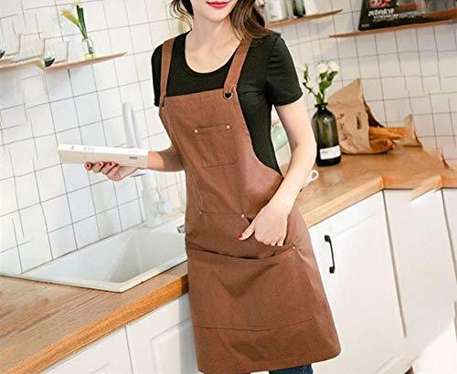 XCVBW 1 Stück Leinwand wasserdichte Schürze koreanische Baumwolle Denim Anti-Schaum Ruhm hemmende Gurt Barista Restaurant Gardening Overalls, braun, Einheitsgrösse -
