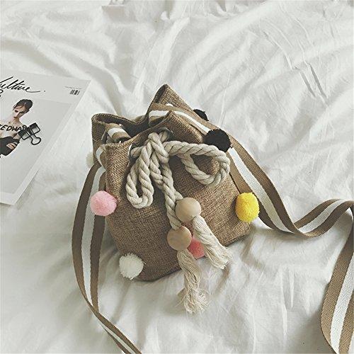 Lawevan® Frauen L16cm * H20cm * W11cm Leinenwannen-Beutel-Schulter-Beutel mit bunten Baumwollkugeln Leinen-