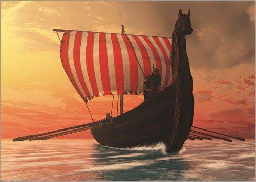 Póster 70 x 50 cm: A Viking Longboat Sails to New Shores de Corey Ford/Stocktrek Images - impresión artística, Nuevo póster artístico