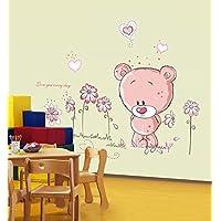 ufengke® Simpatico Orso Bellissimi Fiori Adesivi Murali, Camera dei Bambini Vivai Adesivi da Parete Removibili/Stickers Murali/Decorazione Murale