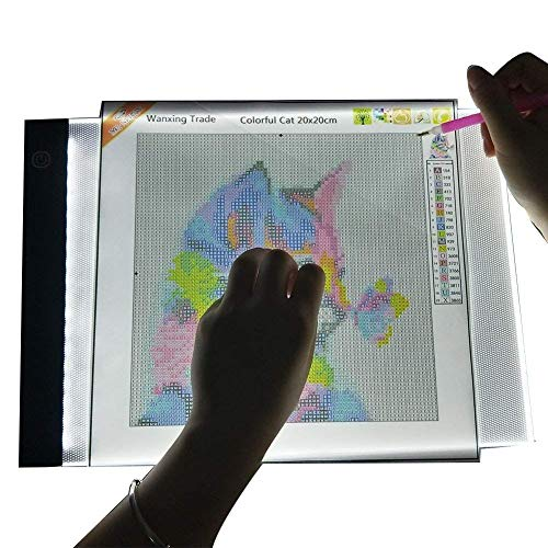 LED Pad für Diamant Malerei A4 Leuchttisch Einstellbare Helligkeit Drei Arten von Helligkeit Light Box von Strass Stickerei USB LED Tracing für Künstler Zeichnung Skizzieren Animation Gestaltung Schablonieren (LED-Zeichenbrett)