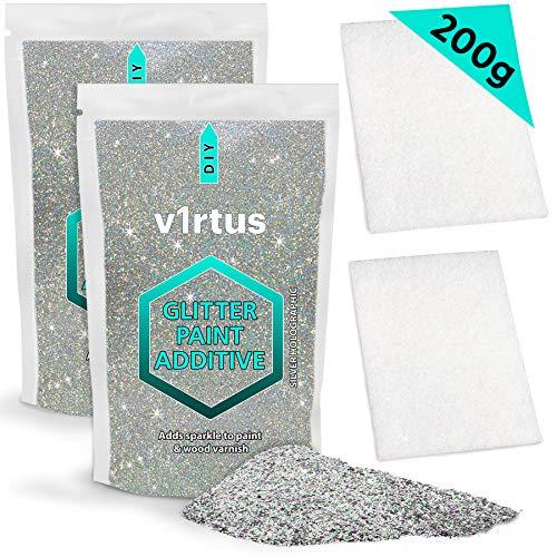 v1rtus Silber Holografische Glitzerfarbe Additiv (2 x 100 g) plus 2 x Polierpads enthalten - Mix mit jeder Emulsionsfarbe für perfektes leuchtendes Finish