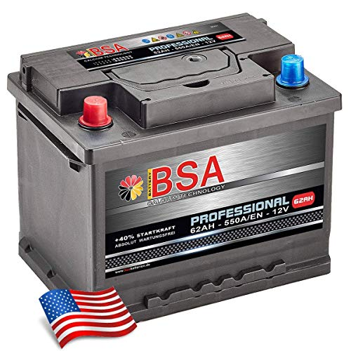 US Autobatterie 62Ah 550A/EN USA Batterie Pluspol Links für US Fahrzeuge PKW KFZ
