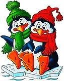"""4 versch. Stück: XL Fensterbilder - """" Winter & Weihnachtsmotive """" - Schneemann / Pinguine / Eulen / Eisbären - statisch haftend - selbstklebend + wiederverwendbar / Sticker Fenstersticker - groß - Aufkleber - Wintermotive - Bären Pinguin Zootiere - lustige Tiere - Weihnachten - Fensterbild - z.B. für Fenster und Spiegel - Fensterdeko Fensterfolie Kinderzimmer Deko"""