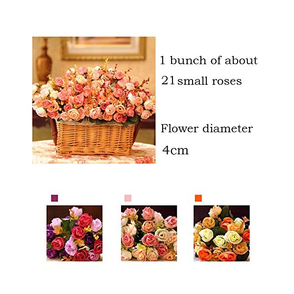 LumenTY Ramo de rosas artificiales de seda cada pack tiene 7 ramas con 21 flores falsa ideal para bodas /fiestas/cocinas…