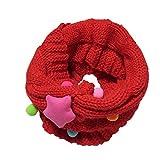 Tangbasi® sciarpa bambino ragazzi ragazze inverno scaldacollo lavorato a maglia per bambini o anello collo sciarpa silenziatori rosso Red taglia unica