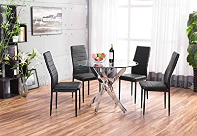 New Novara Chrome Round Circular Glass Round Dining Table And 4 Black Faux Leather Dining Chairs Seats - low-cost UK light shop.