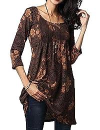 Juqilu Camisa de la blusa de las señoras floja informal floja impresa cuello redondo de gran