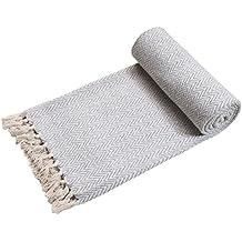 EHC - Funda tejida a mano para sofá, reversible, una unidad, color gris/natural, 125 x 150 cm
