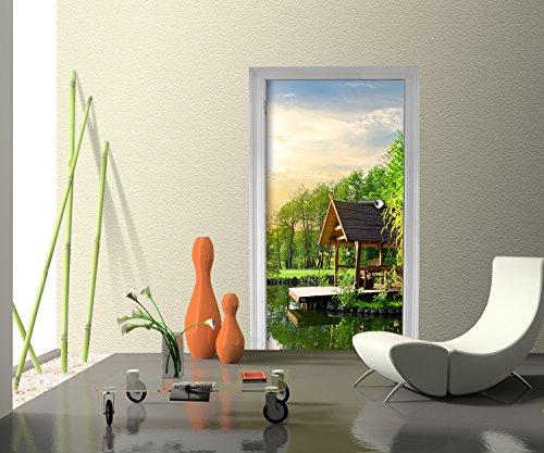 Türtapete Gartenlaube in der Nähe von einem kleinen See Tapete Kunstdruck Türbild | 100 x 200cm (B x H) | Dekorfolie selbstklebend