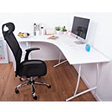LIFE CARVER L-Shape Large Corner Computer Desk PC Table Corner Home Office Desk (White)