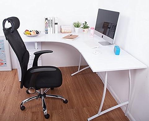 LIFE CARVER L-Shape Large Corner Computer Desk PC Table Corner Home Office Desk (White)