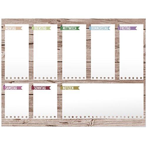 Wandkings Wochenplan Holz - Whiteboardfolie abwischbar - Wähle eine Größe - 40 x 30 cm