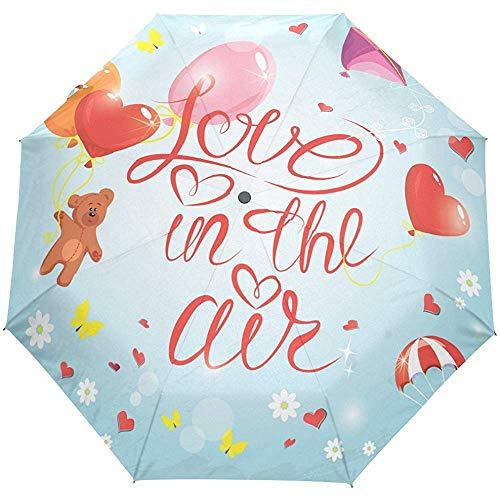 Niedlicher Tierbärn-Liebes-Herz-Blumenblumen-Schmetterlings-Auto-Open Close Sun Rain Umbrella