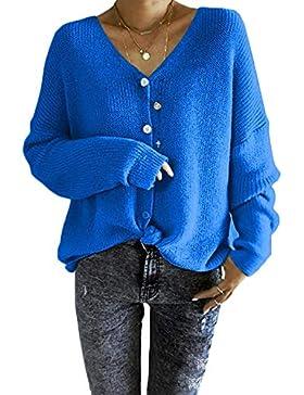 Suéter De Punto Suéter De Las Mujeres Suelta Botón Abajo Pullover Superior Caliente