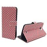 König-Shop Handy-Hülle Schutz-Tasche Wiko Slide Smartphone Klapphülle Polka Dot Design Weiße Punkte Rot