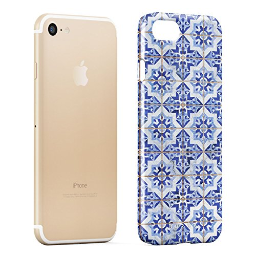 BURGA, Rosa Marmo Mosaico Moroccan Tile Marocchino Belle Elegante Design Sottile, Guscio Resistente In Plastica Dura, Custodia Protettiva Per iPhone 7 Plus / iPhone 8 Plus Case Blue City