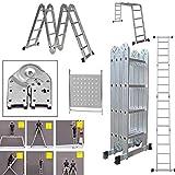 4 x 4 Aluminiumleiter, 6 Wege 14-in-1 (15,5ft) Mehrzweck-Kombi-Leiter, Klappbock, 1 Malwanne schwer, 150 kg Tragkraft, EN131-Zertifizierung, 5 Jahre Garantie