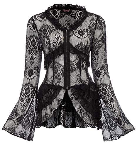 Mujer gótico Bolero Shrug Manga Larga Encaje Crochet Cardigan Negro S