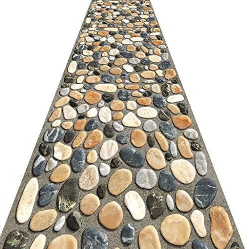 SESO UK- Pastorale Teppich Läufer für Flurtreppen, kommerzielle Haushalt Hall Rug Runner, Stone Road Pattern (Size : 120×400cm)
