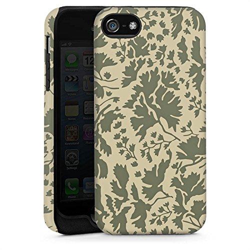 Apple iPhone 5 Housse Étui Silicone Coque Protection Motif floral Feuillage Marron Cas Tough brillant