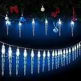 Monzana 80 LED Lichterkette Eiszapfen I Blau I Für Innen & Außen I Länge 14m I Stecker - Weihnachtsdekoration Weihnachtsbeleuchtung Weihnachten Fenster Outdoor Deko