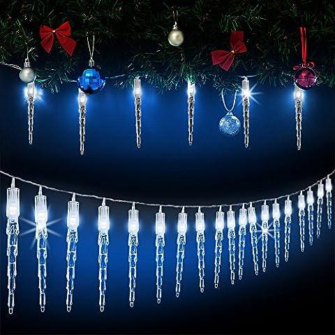 Lichterkette LED Eiszapfen Fensterdeko Weihnachtsdeko Outdoor ✔80 Eiszapfen mit je 1 LED Blau ✔Modellauswahl