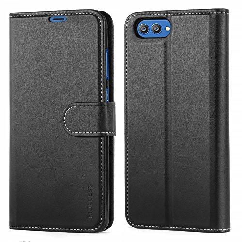Huawei Honor View 10 Hülle,Mulbess Premium Handy Schutzhülle Ledertasche im Kartenfach für Huawei Honor View 10 Tasche Hülle Leder Etui Schale,Schwarz (Business Style)