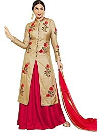 [Sponsored]Vastrang Women's Latest Party Wear Cotton Embroidered Suit WIth Salwar & Dupatta(Patiala_Cream Red_Free SIze)