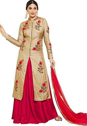 Vastrang Women\'s Latest Party Wear Cotton Embroidered Suit WIth Salwar & Dupatta(Patiala_Cream Red_Free SIze)