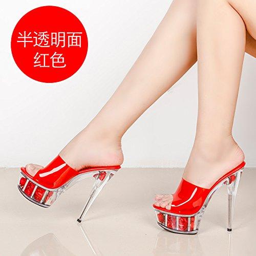 HGTYU-In cristallo trasparente Ultra Cool Fiori con scarpe pantofole Nuova  tavola di acqua di