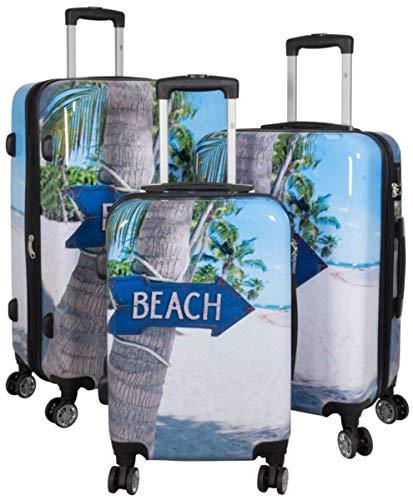 Kofferset Gepäckset Polycarbonat ABS Hartschalen Koffer 3tlg. Set Trolley Reisekoffer Reisetrolley Handgepäck Boardcase PM (Summer Beach)