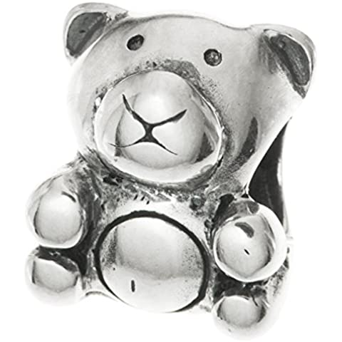 Argento Sterling 925 Lovely Teddy peluche orso, perline per braccialetti Charm