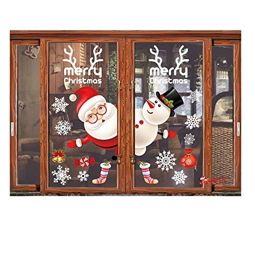 ODJOY-FAN Fenster Entfernbar Aufkleber Farbe Fenster Dekoration Weihnachten Restaurant Einkaufszentrum Dekoration Schnee Glas Wandtattoos(J,1 PC)