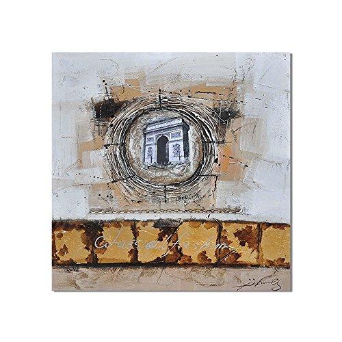 YCRD Ölgemälde-Kunst-Segeltuch-Handgemaltes Abstraktes Grafik-Wohnzimmer-Schlafzimmer-Wand-Dekorations-Ausdehnung Und Rahmen Bereit, 60 * 60Cm Zu Hängen,Abstracta (Hang-panels)