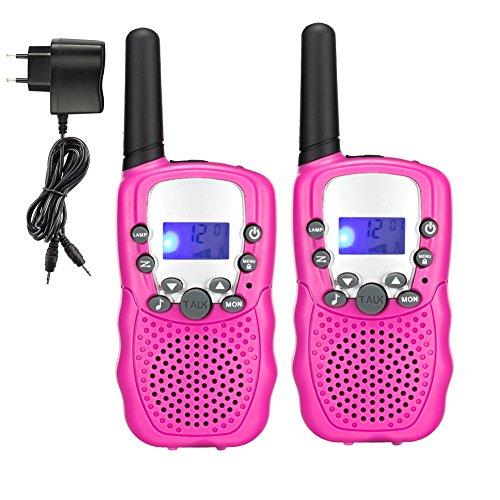 Generisch Talkie Walkie T-388 PMR 446 mit VOX Akkus Ladegerät Taschenlampe LC-Display (Rosa)