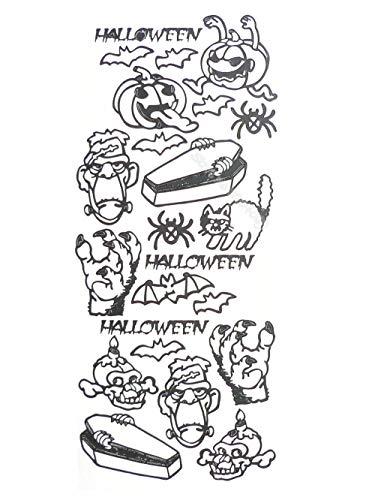 Halloween Kreaturen Peel Off Wandaufkleber Kürbis Monster Schwarze Katze Fledermäuse Schädel Lustiges Wandbild Dekor Allerheiligen Fenster E 56x126cm -