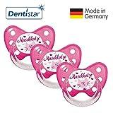 Dentistar® Schnuller 3er Set- Nuckel Silikon in Größe 3, ab 14 Monate - zahnfreundlich & kiefergerecht - Beruhigungssauger für Babys - Naschkatze
