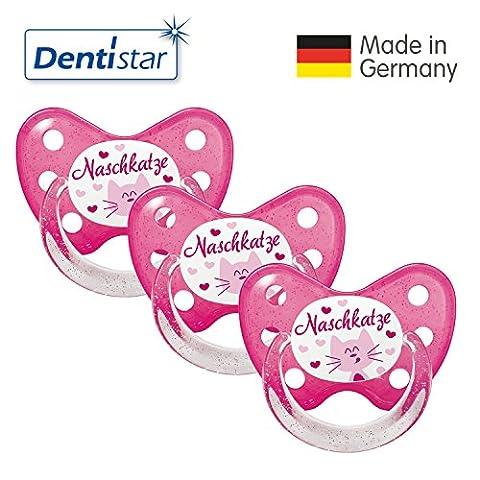 Dentistar® Schnuller 3er Set- Nuckel Silikon in Größe 3, ab 14 Monate - zahnfreundlich & kiefergerecht - Beruhigungssauger für Babys -