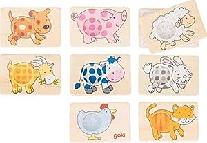 Memospiel Tiermuster 16-teilig: 5 x 7,5 cm, Holz, 16 Teile, per Stück