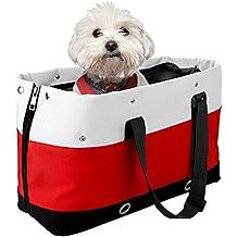 Bolsos para Perros Gato, Iyowin Bolsa Portador de transporte Oxford duradero los agujeros y redes transpirables para mascotas Viaje (Rojo)
