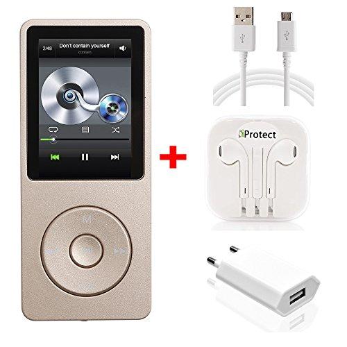 iProtect MP3-Player Set In-Ear Kopfhörer 70 Stunden Audiowiedergabe Musik-/Video Player Speicher bis zu 64GB erweiterbar mit Radio-Funktion in gold