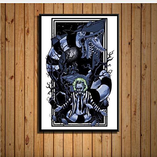 haoxinbaihuo Beetlejuice Klassische Horrorfilm Lustige Tim Burton Kunst Malerei Seide Leinwand Poster Wand Wohnkultur 50 * 70 cm Kein Rahmen