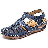 Comfy Wedge Sandal Strap Flat Shoes, Vintage Peep Toe Suede Flats, Wide Fit Sandal (8, Blue)