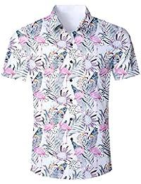 a715f1341 ALISISTER Camisa Hawaiana Hombre Estampado en 3D Botón Informal Abajo Playa  Camisa Manga Corta Aloha de