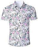 ALISISTER Camisa Hawaiana Hombre Camisetas de Manga Corta 3D Floral Impresión Aloha Botón Blusa Fiesta de Vacaciones de Verano Ropa M