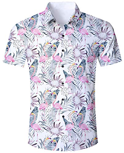 Kostüm Beach Party Retro - ALISISTER Flamingo Hemd Hawaiihemd Herren Button Down kurzärmeliges Hemden Erwachsene 3D Blume Hawaii T-Shirt Lässige Beach Aloha Party Regular Slim Fit Shirts XL