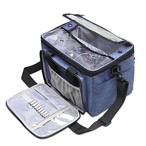 Teamoy Aufbewahrungstasche für Wolle, die geeignet zum Transportieren von Strick-/Häkeln wolle ist und Taschen für Zubehör (kein Zubehör im Lieferumfang enthalten), dunkel Blau