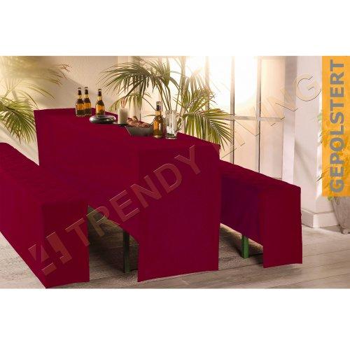 3-tlg. Premium Bierbankhussen-Set / Bierzeltgarnitur / 50x220cm / gepolstert / weinrot
