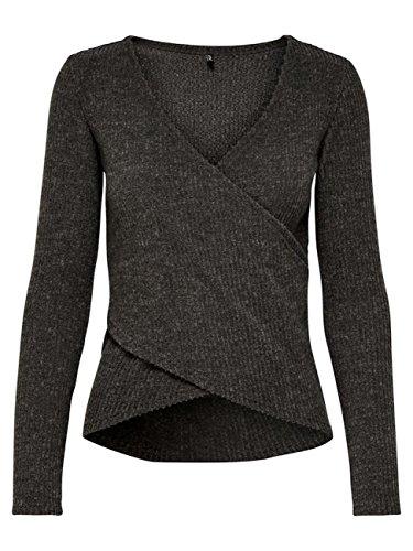 Only Damen Wickel-Pullover Onljustice L/S Wrap Top JRS (Peat / Melange, M) (Langarm-wickel-pullover)